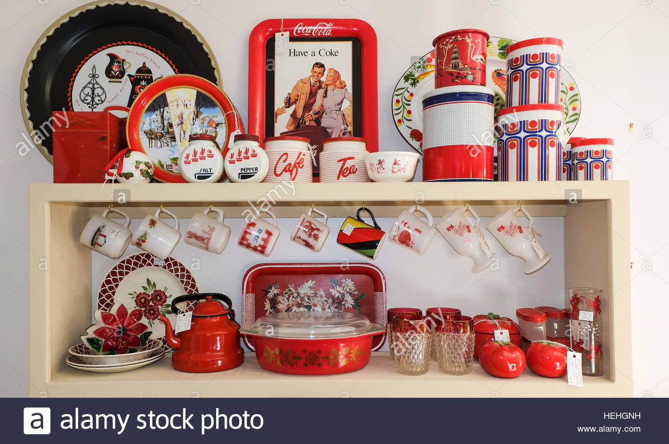 Collection Of Red Themed Kitchen Ware Dishes Tins Glasses Stock Photo Alamy