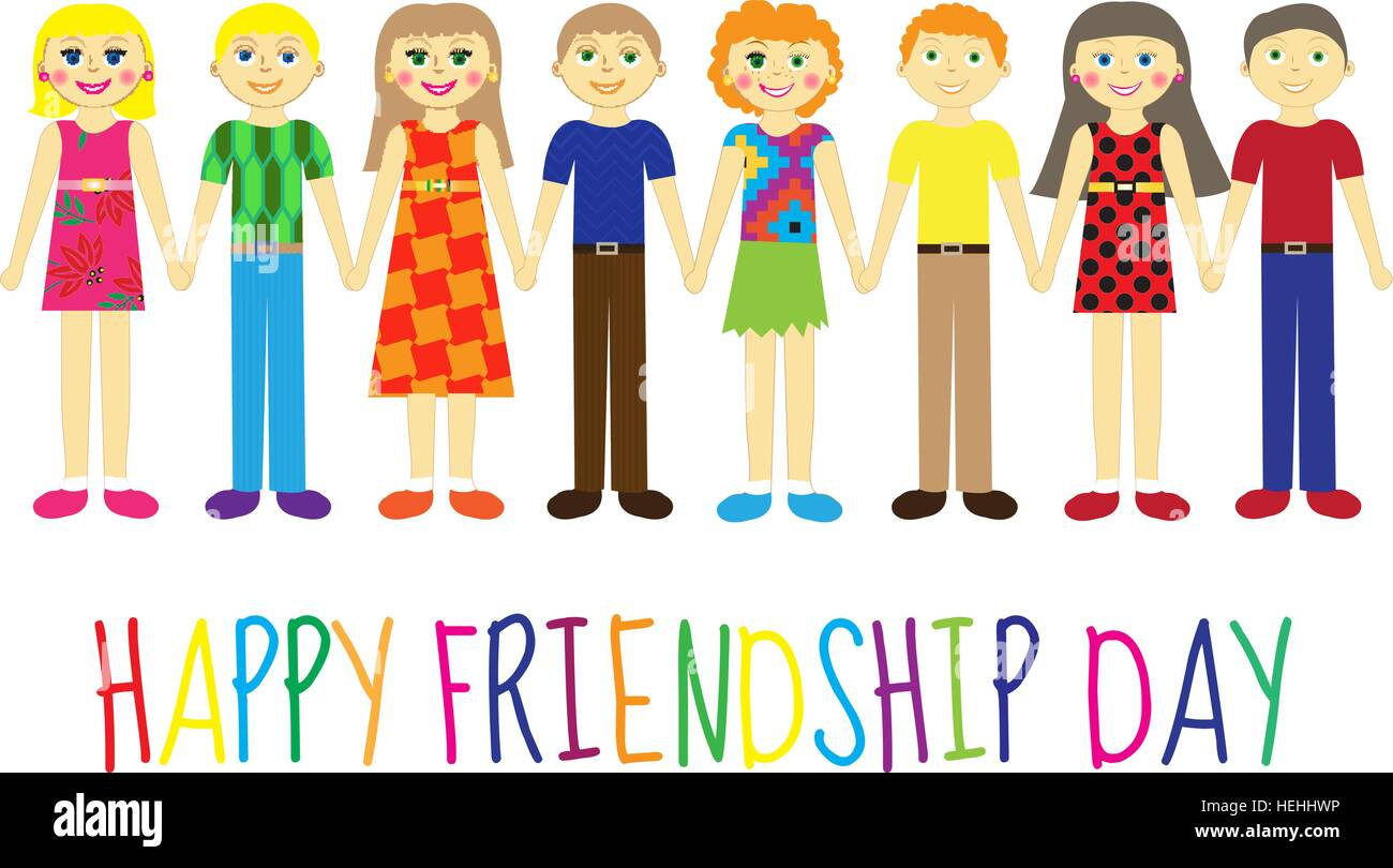 Superb Greeting Card With A Happy Friendship Day. Greeting Card Cute Kids, Cartoon  Holding Hands. Vector Illustration