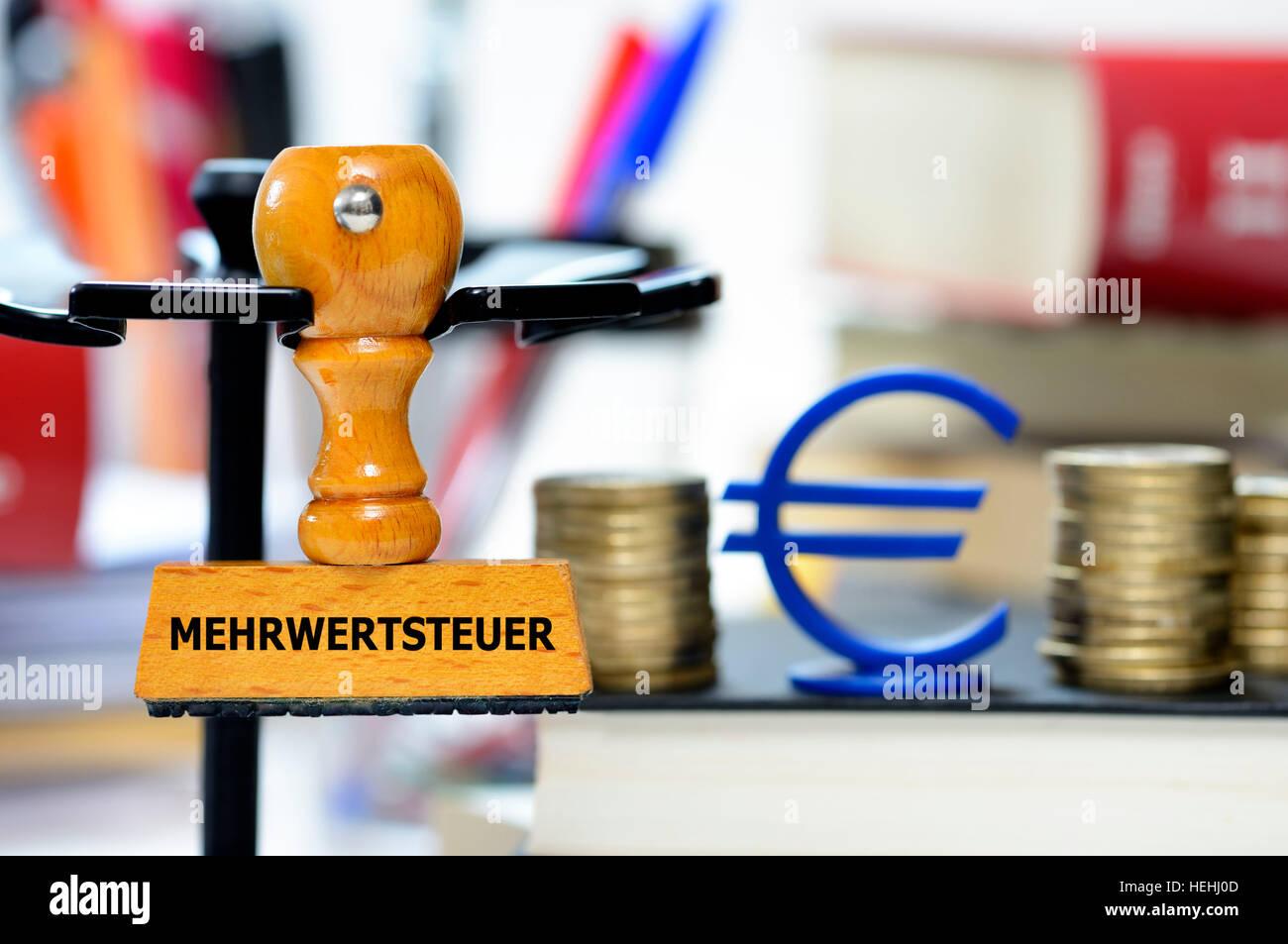 Stempel mit der Aufschrift Mehrwertsteuer - Stock Image