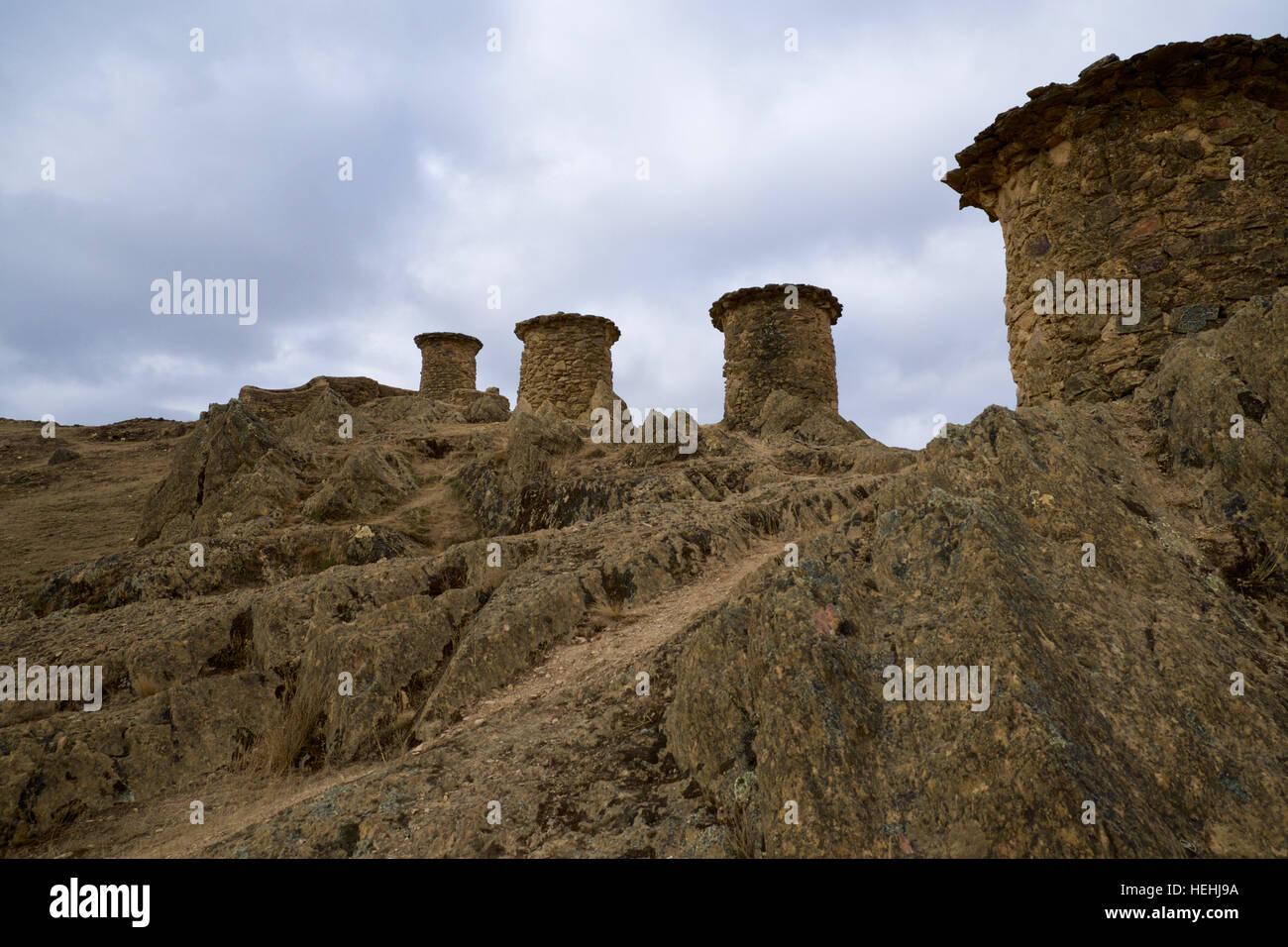 Chullpas of Ninamarca - Lupaca burial chambers     Chullpas of Ninamarca. 30 kms of Cuzco to Manu National Park. - Stock Image
