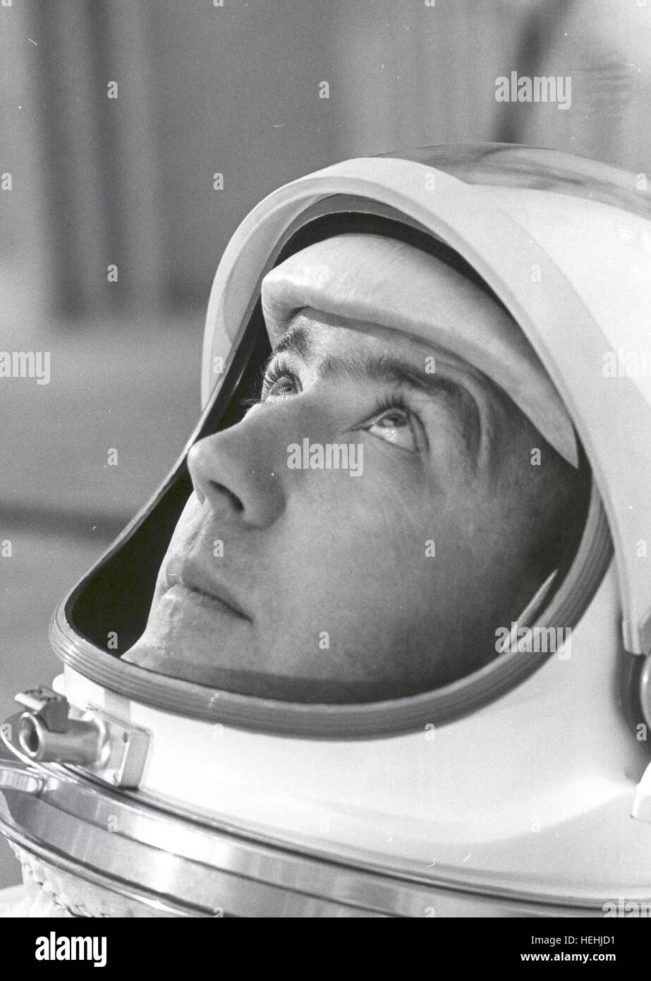 NASA astronaut Jim McDivitt suits up in preparation for weight and balance training tests before the Gemini IV mission - Stock Image