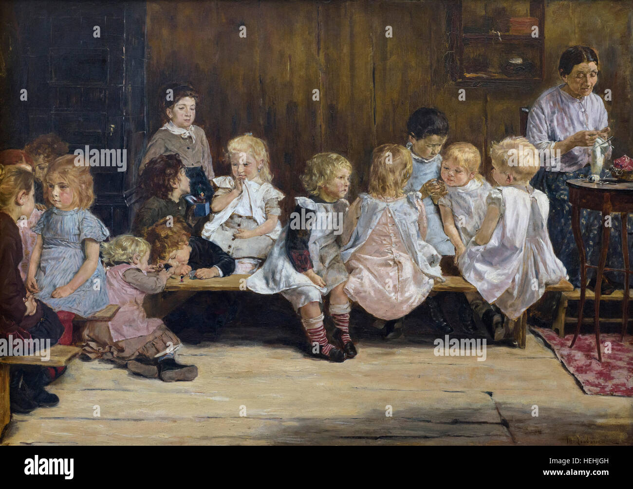 Max Liebermann (1847-1935), Toddlers School in Amsterdam (1880). Kleinkinderschule in Amsterdam. - Stock Image