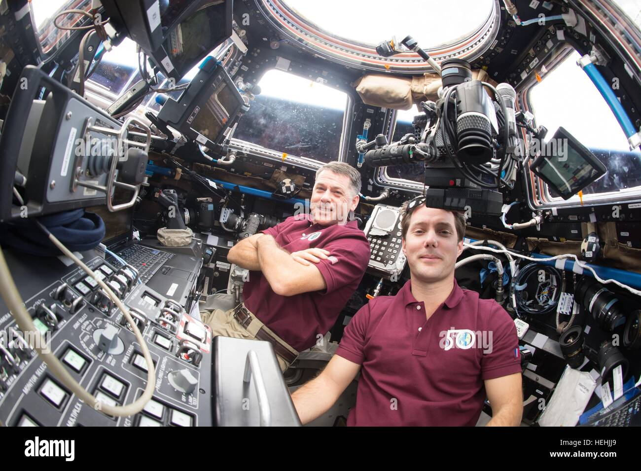 NASA Expedition 50 prime crew members astronaut Shane Kimbrough (back) and French astronaut Thomas Pesquet of the - Stock Image