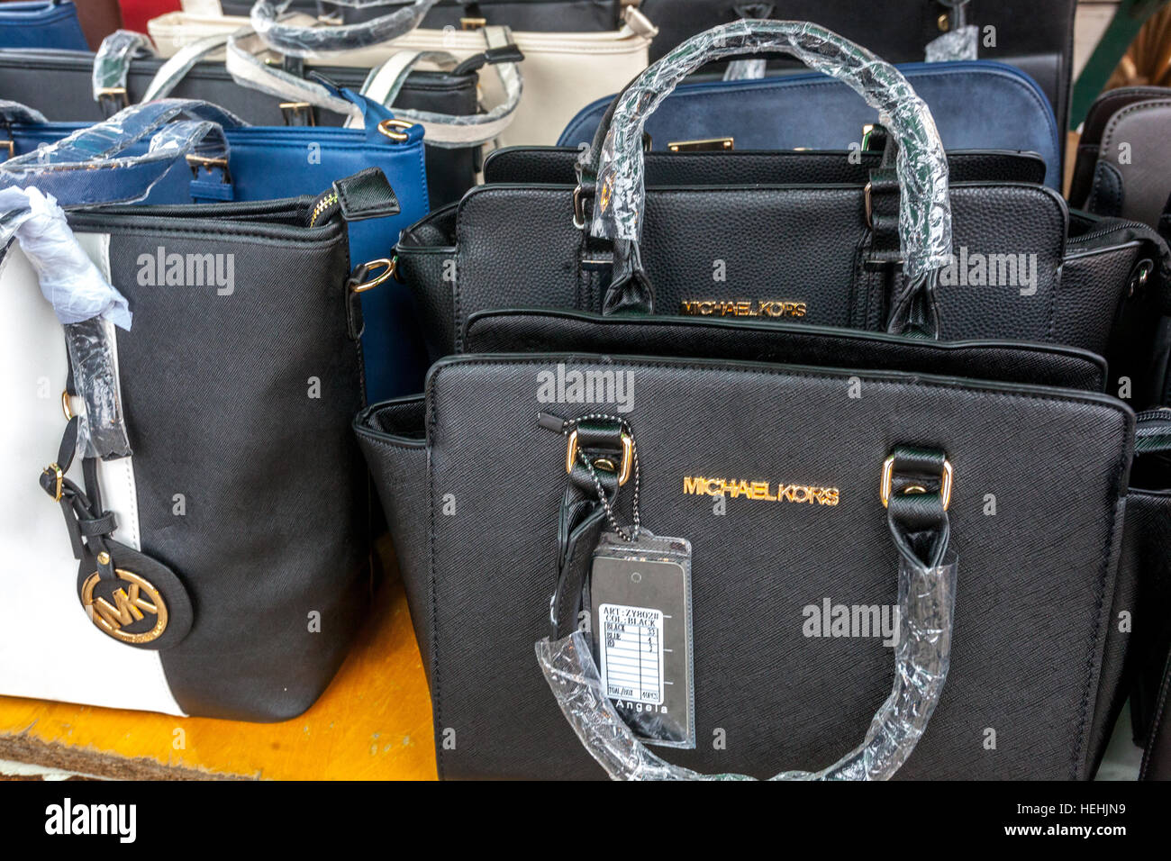 210b2f4cff37 Selling fake handbags renowned brand Michael Kors, market, Holesovice,  Prague, Czech Republic · Jose Okolo / Alamy Stock Photo