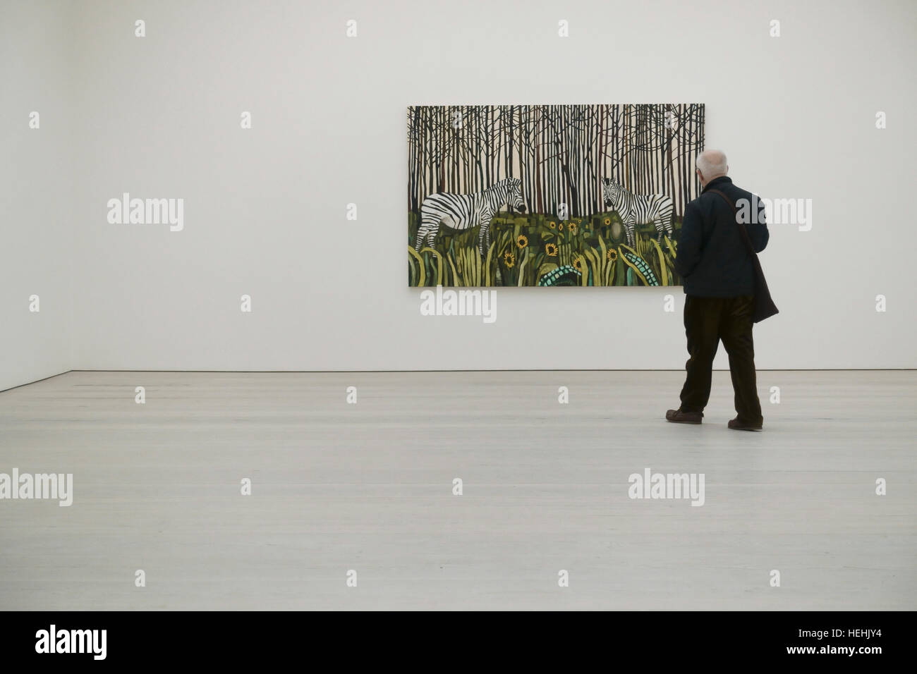 Raffi Kalenderian 'Spirit Guides and Sunflowers' at the Painters painters exhibition, the Saatchi Art Gallery - Stock Image