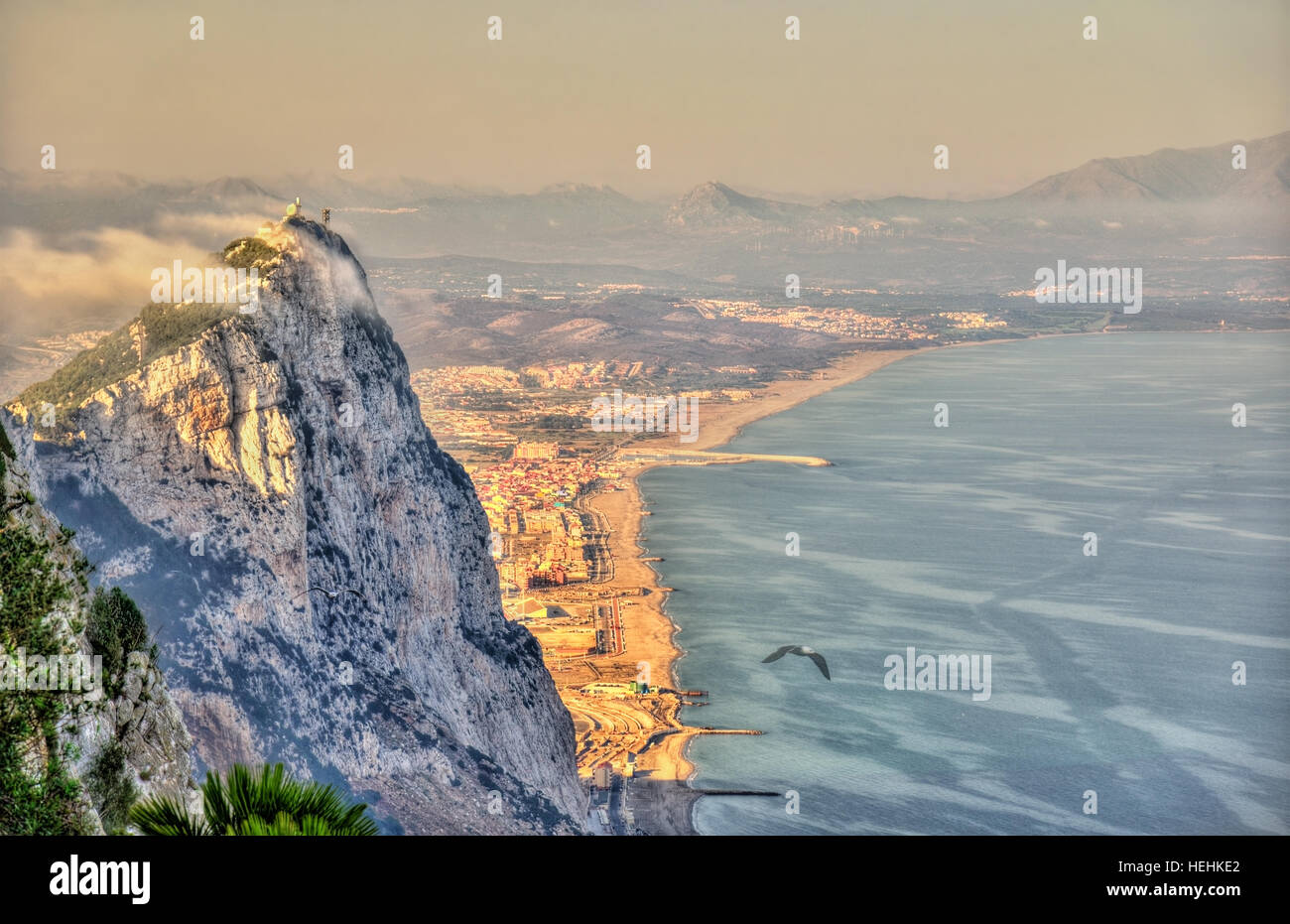 Rock of Gibraltar in fog. A British Overseas Territory - Stock Image