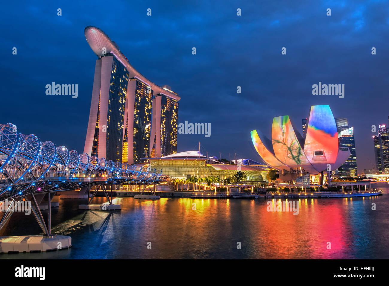 Marina Bay Sands Hotel and ArtScience museum, Singapore - Stock Image