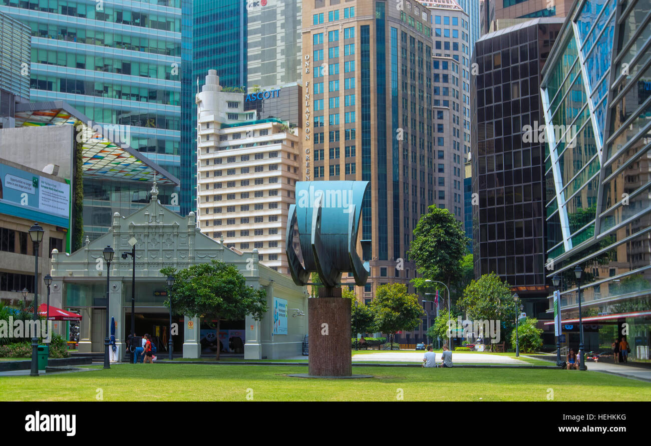 Raffles square in Business district , Singapore - Stock Image