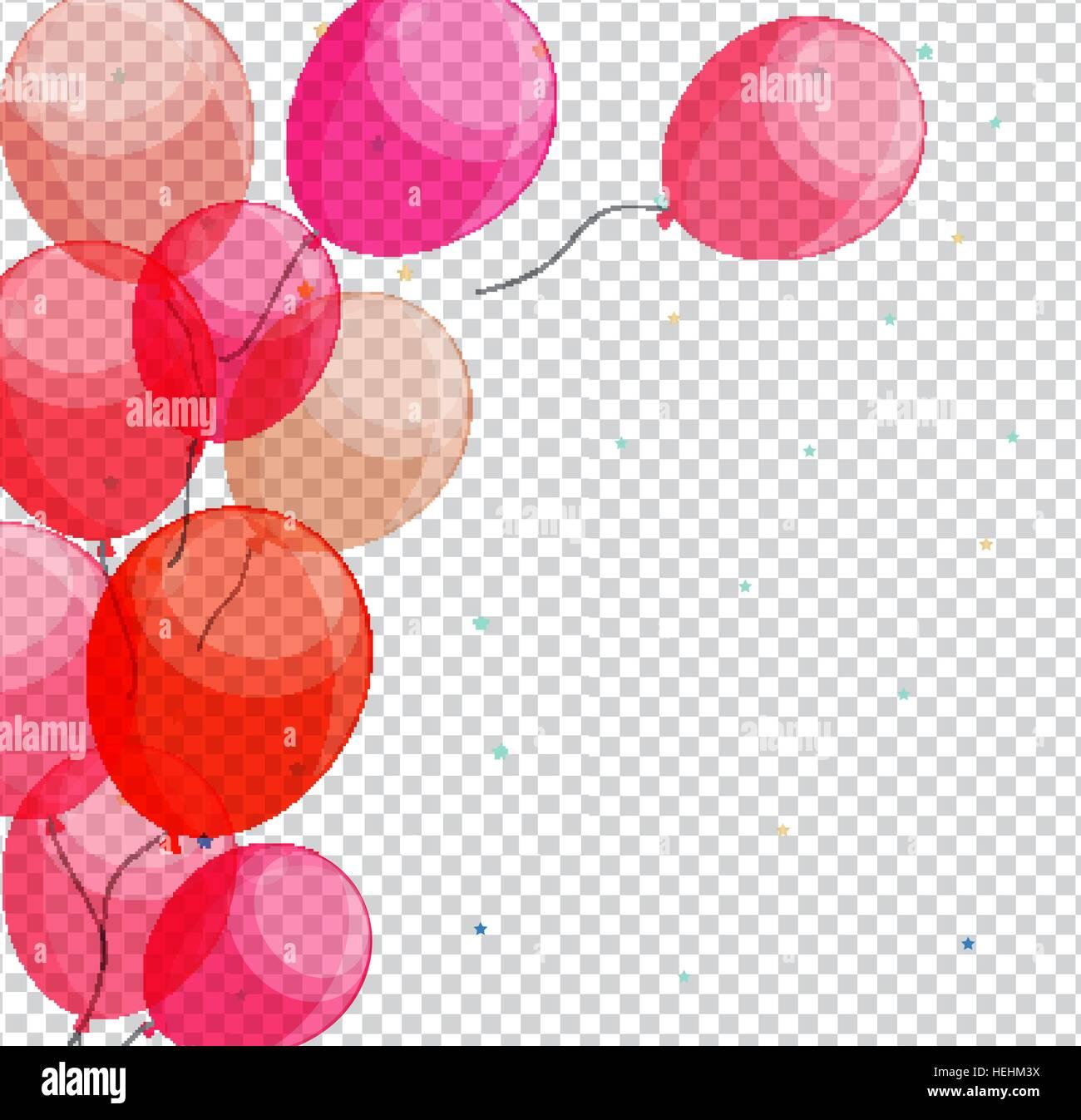 Glossy happy birthday balloons on transparent background vector stock vector art amp illustration