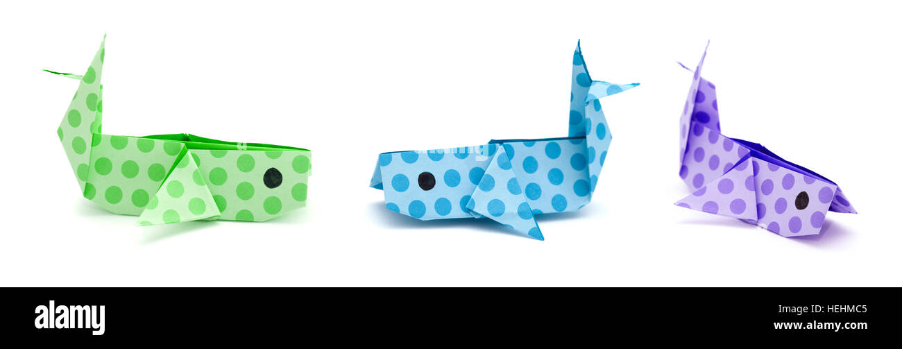 Origami whale element art of Royalty Free Vector Image   504x1300