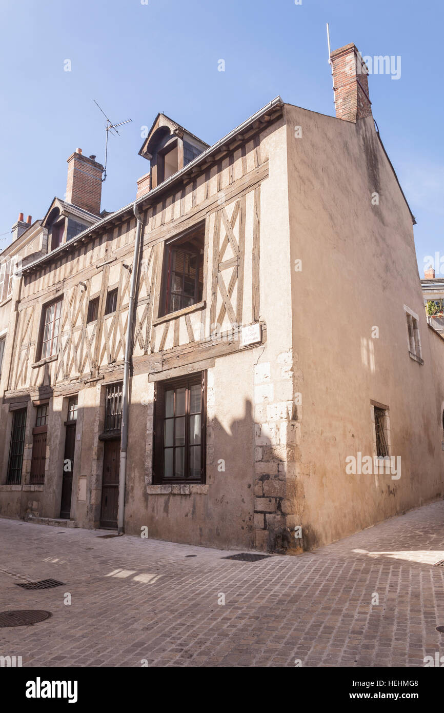 A half timbered house in Orleans, France. - Stock Image