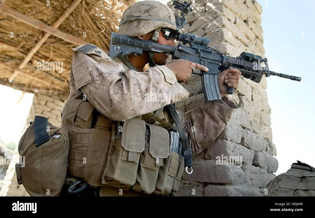 MAIN POSHTEH, AFGHANISTAN- JULY 2: A U.S. Marine from 2nd Marine Expeditionary Brigade, RCT 2nd Battalion 8th Marines - Stock Image