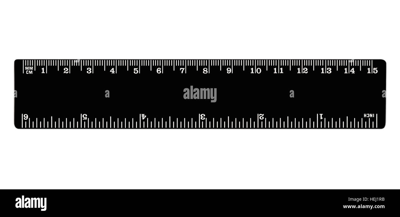Black ruler isolated, inches, centimeters, milimeters, imperial and metric distance length units, cm and mm marks, - Stock Image