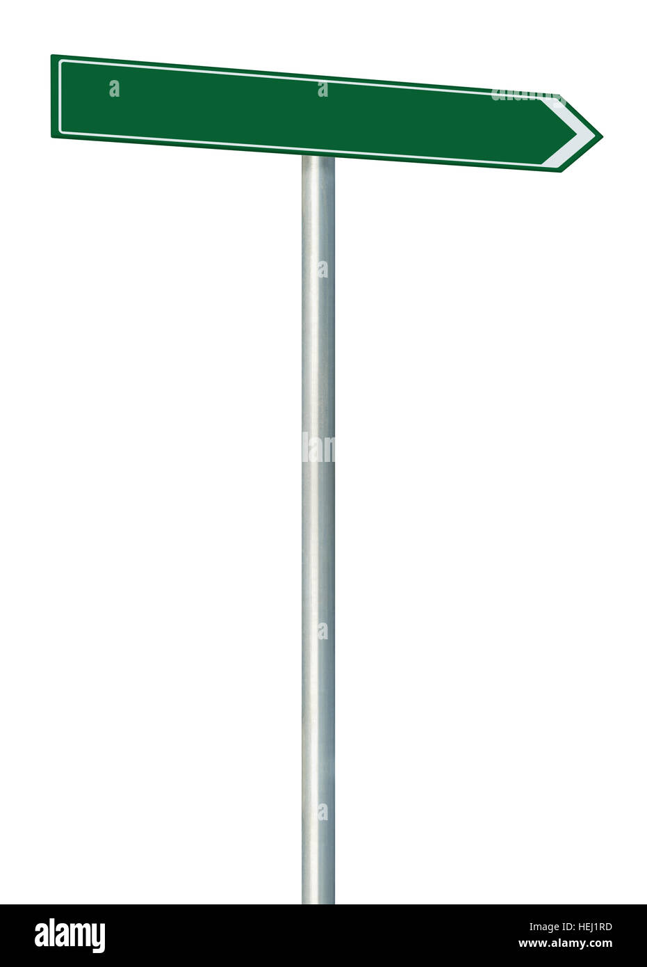 Right road route direction pointer this way sign, green isolated roadside signage, white traffic arrow frame roadsign, - Stock Image