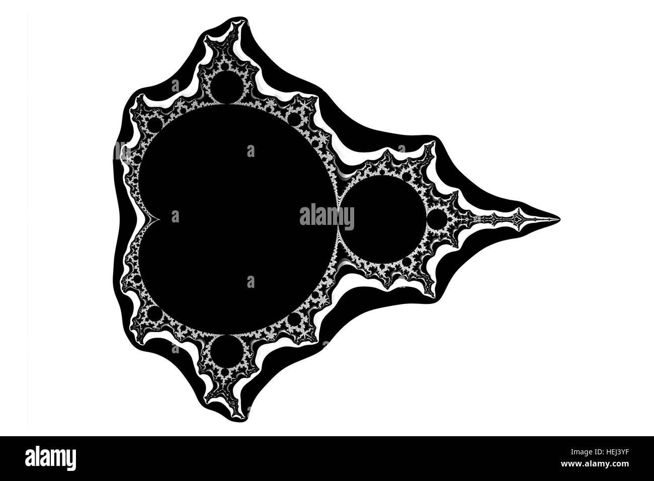 the mathematic fractal  mandelbrot set on white background - Stock Image