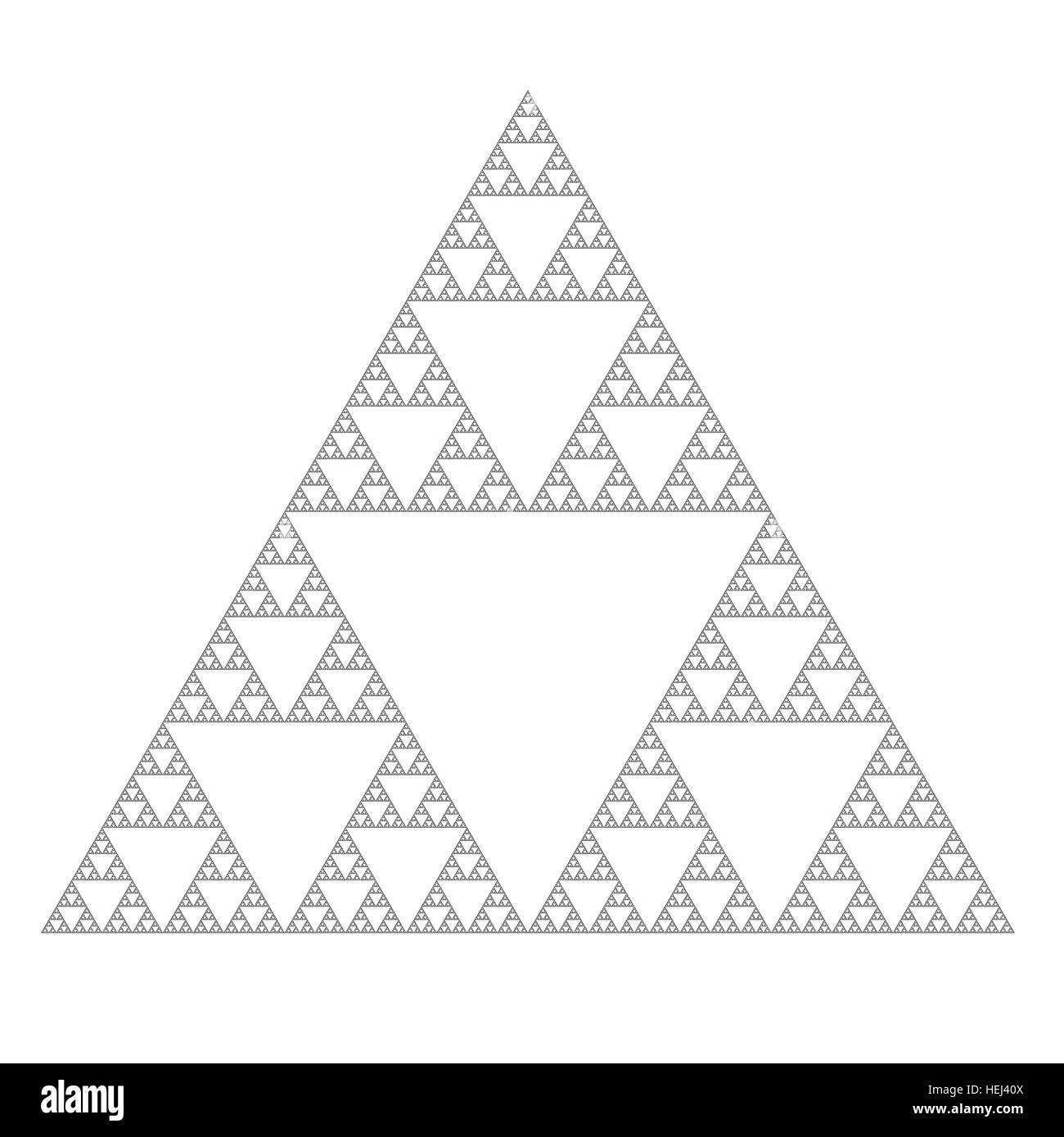 the sierpinski triangle, fractal iterated shape - Stock Image