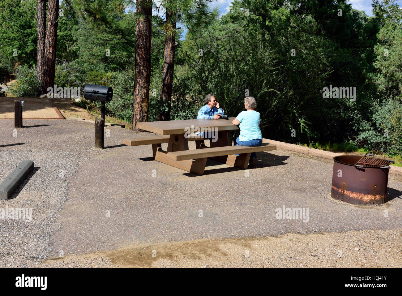 Yavapai Campsite Picnic Table With Adjacent Fire Pit And Barbecue, Prescott  National Forest, Arizona,