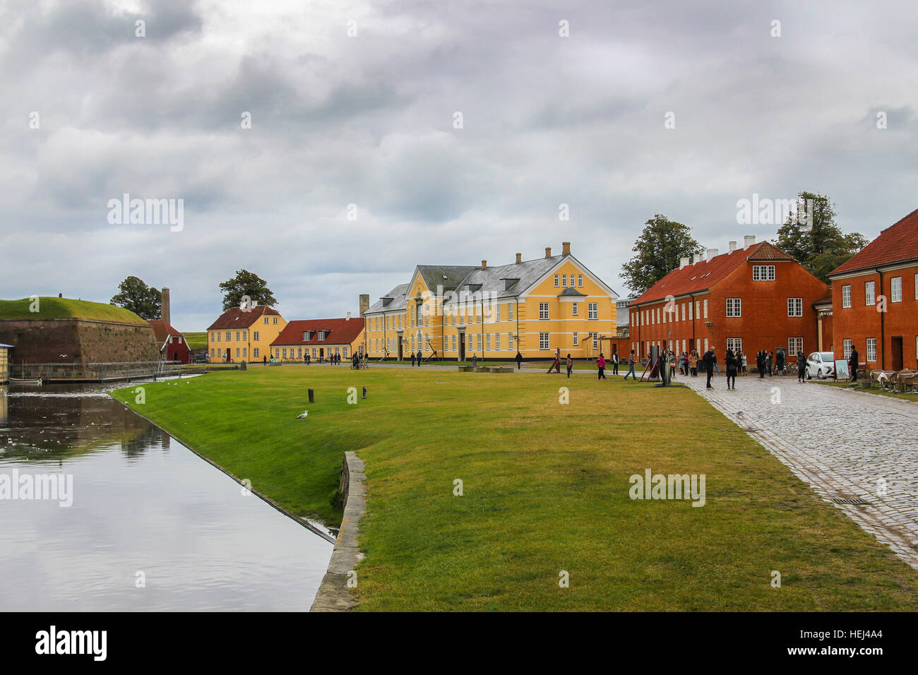 Copenhagen, Denmark - October 2, 2016: People visiting  houses neighboring Kronborg or Elsinore Castle otherwise - Stock Image