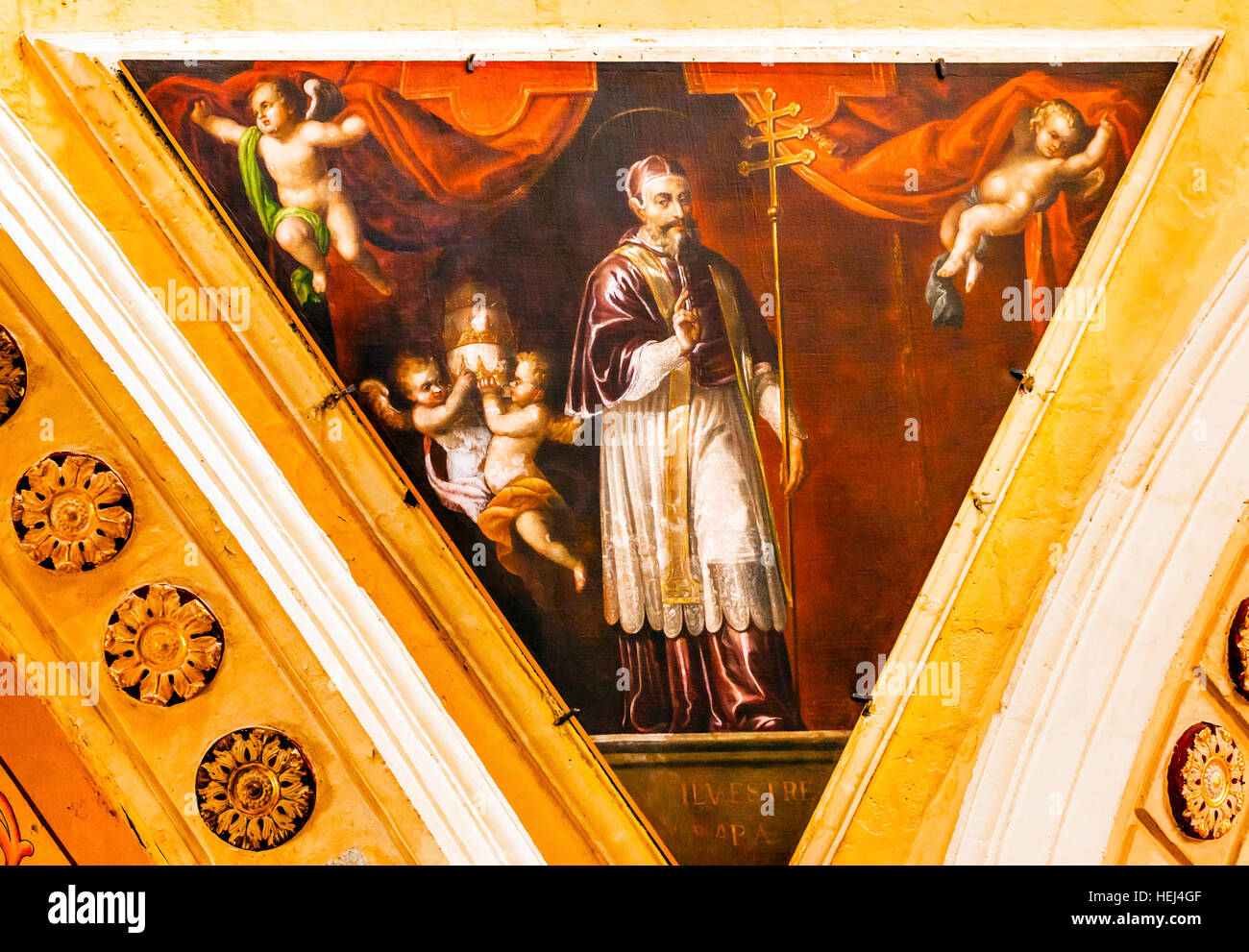 Pope Sylvester, First French Pope, Painting Our Lady of Guanajuato Basilica Altar Mary Statue Christmas Guanajuato, - Stock Image