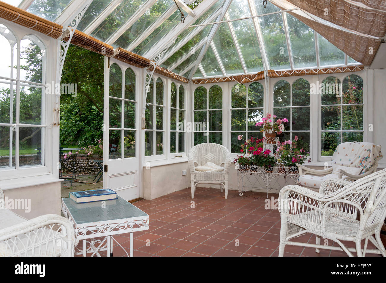 Conservatory in country cottage, South Creake, Norfolk, England, United Kingdom - Stock Image