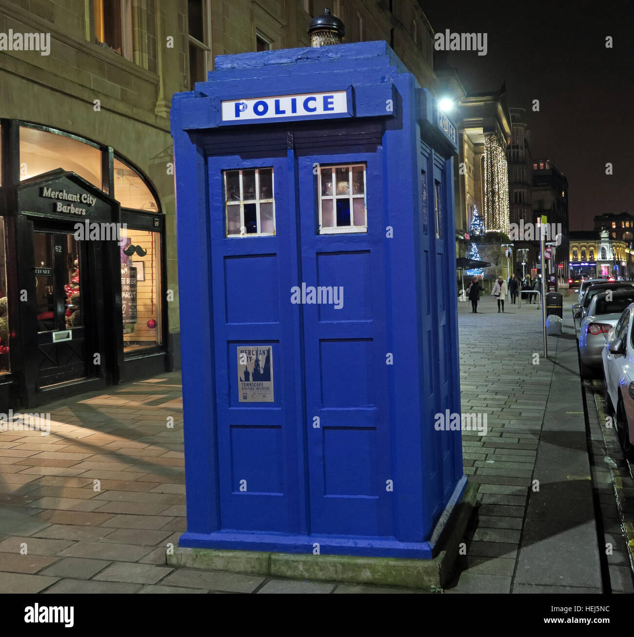 Dr Who Blue Policebox,Wilson St, Glasgow,Scotland,UK at night - Stock Image