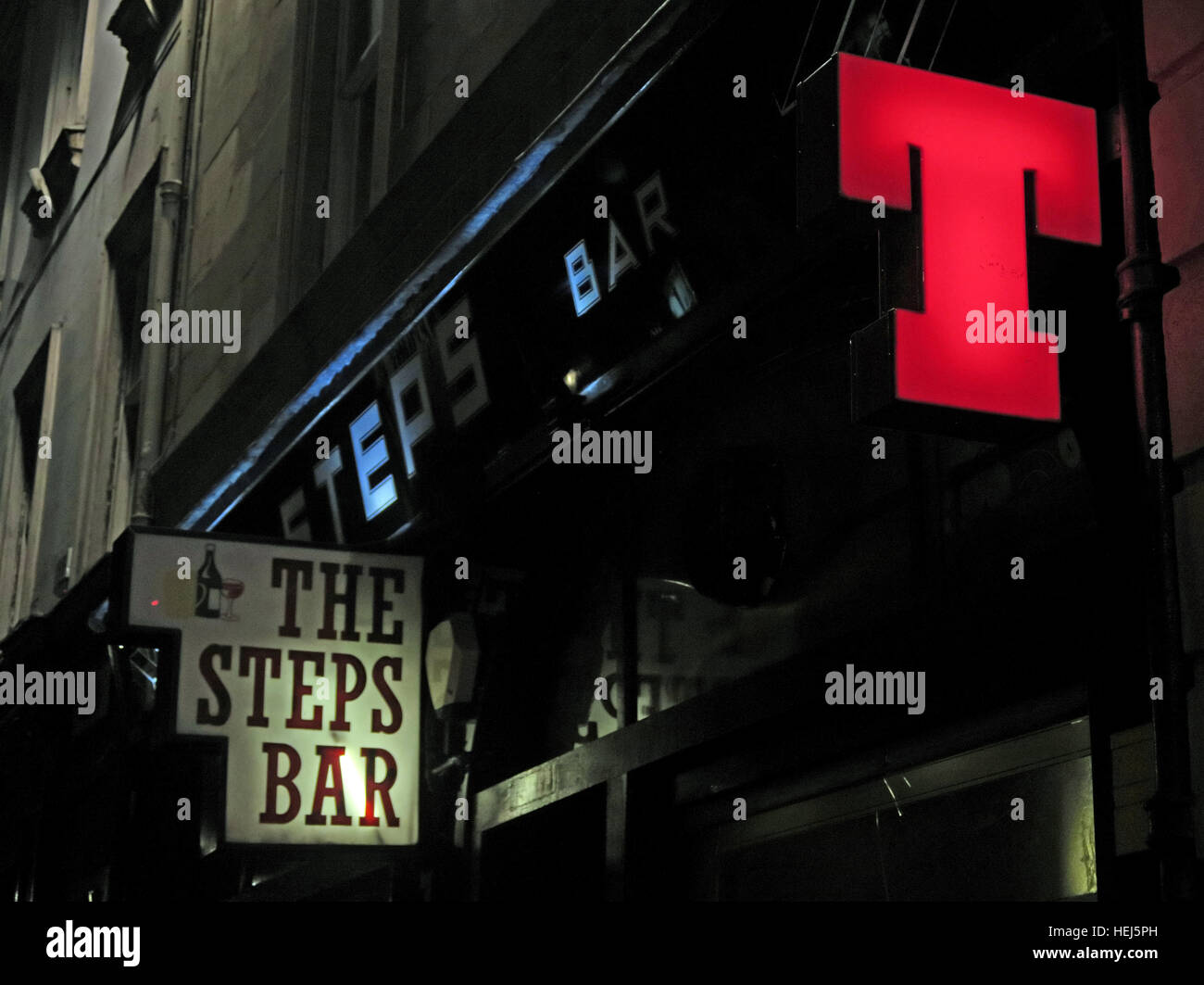 The steps Bar at night,Glasgow city centre,Scotland,UK - Stock Image