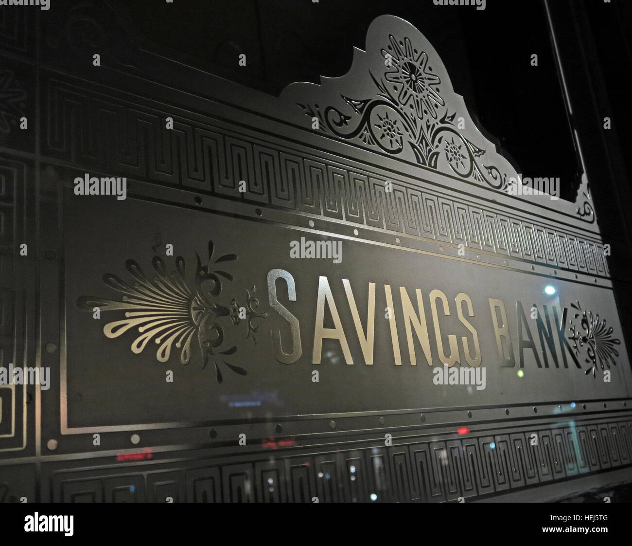 Glass Victorian Savings Bank window sign,Glasgow,Scotland,UK - Stock Image
