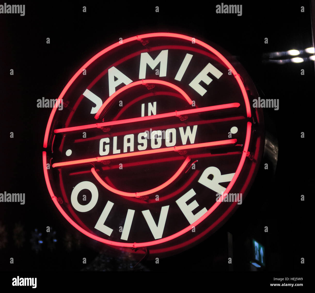 Jamie Oliver in Glasgow neon sign, Scotland, UK Stock Photo