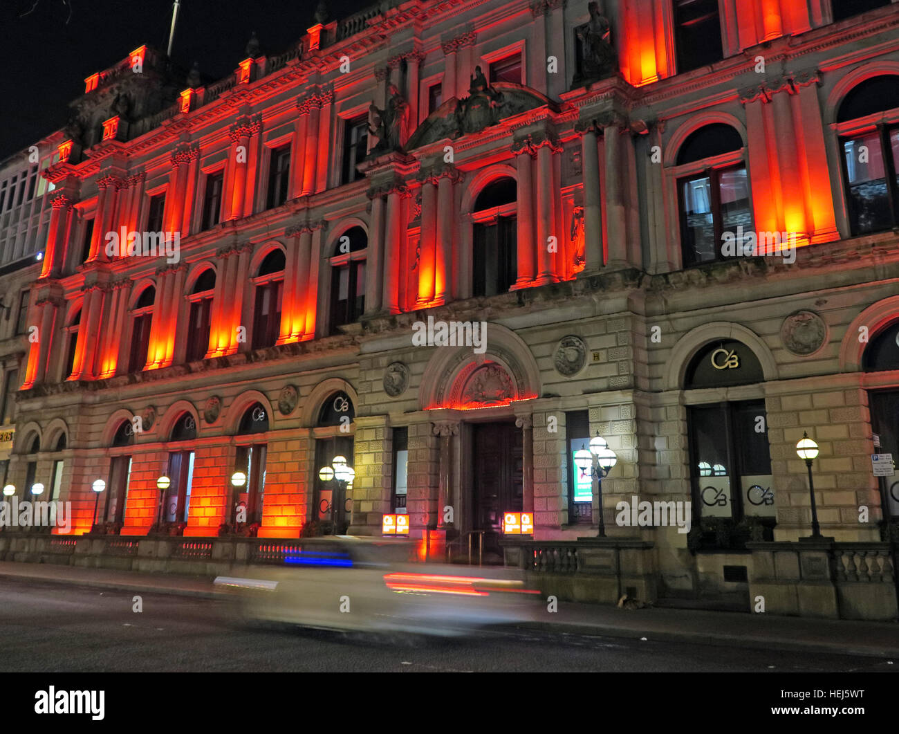 Clydesdale Bank Chambers at Night,Glasgow,near George Square, Scotland, UK Stock Photo