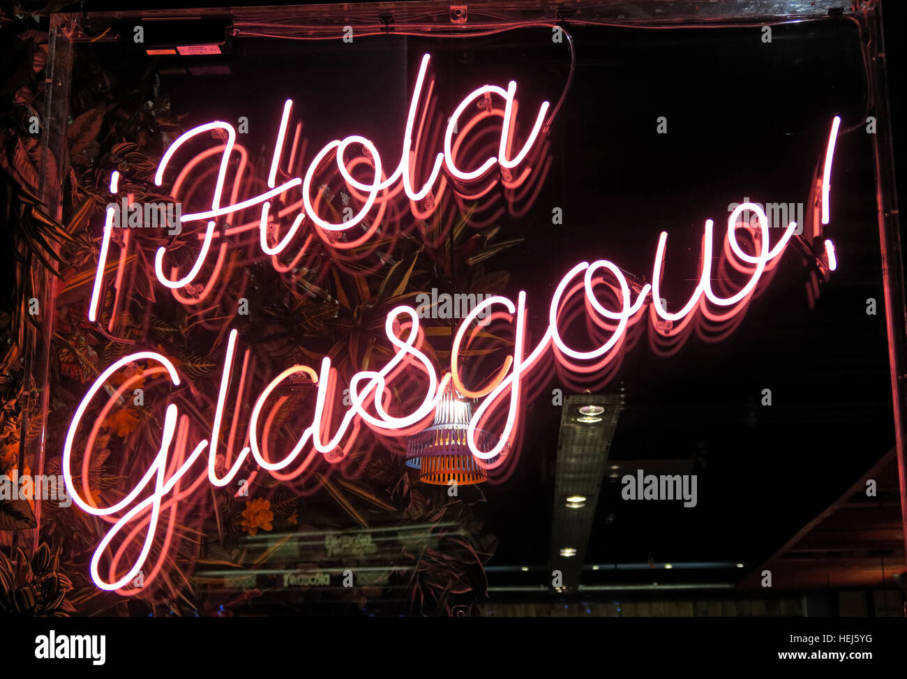 Hola Glasgow red neon sign, city Centre,Scotland,UK - Stock Image