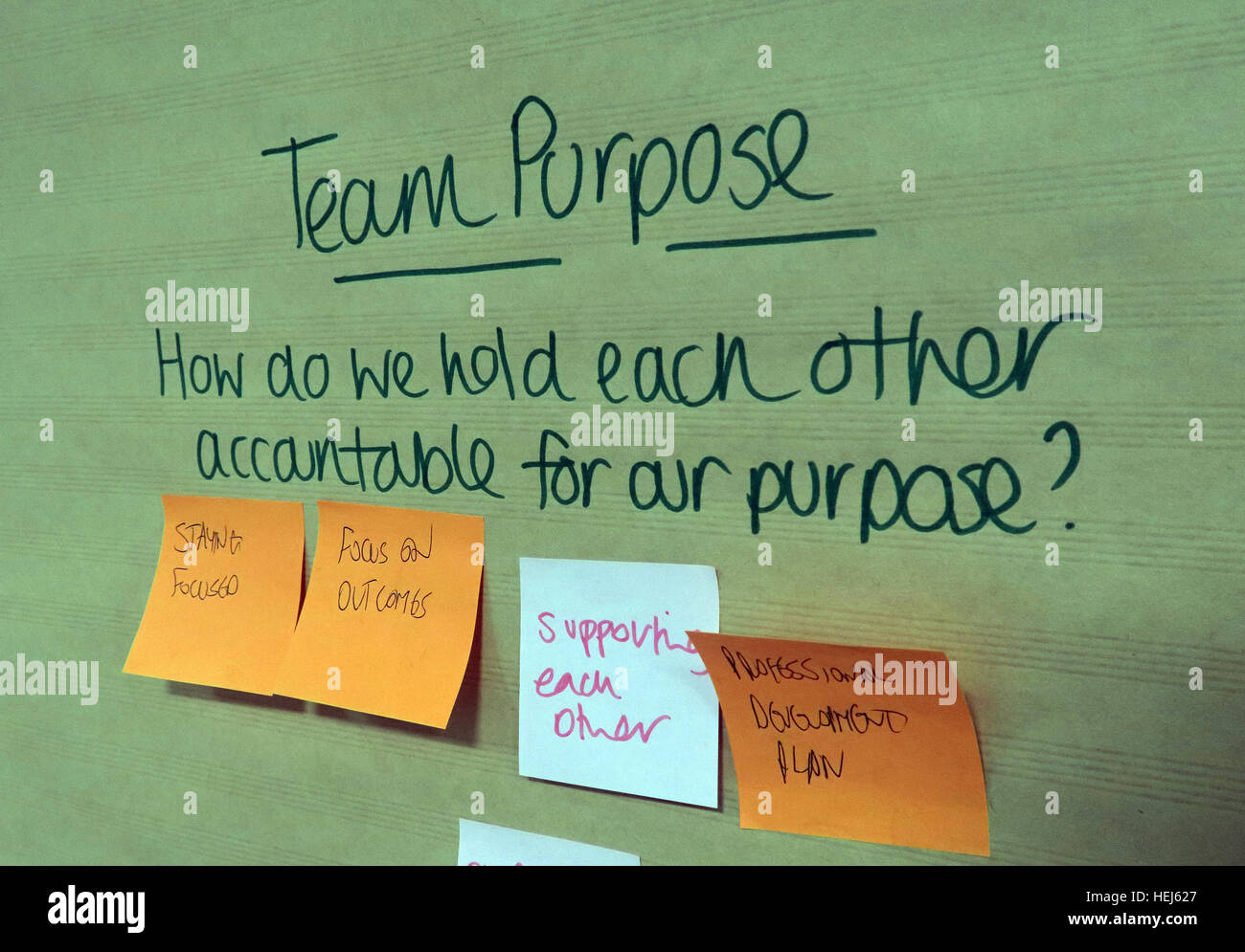 Strategy and Values brainstorming office training team building session - Stock Image