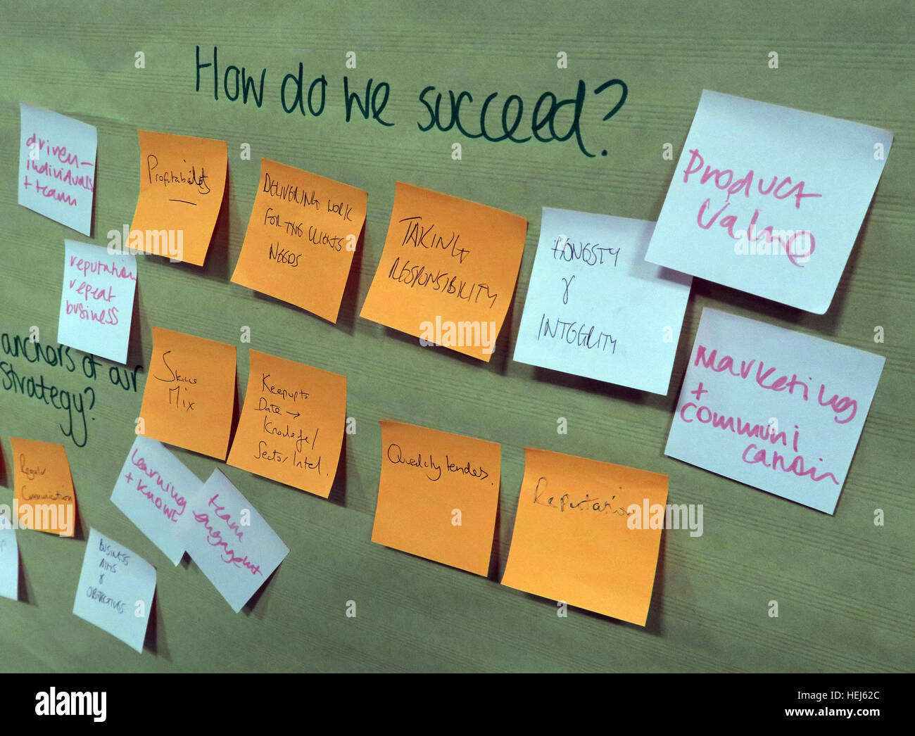 Strategy and Values brainstorming office training team building session - How Do We Succeed? - Stock Image