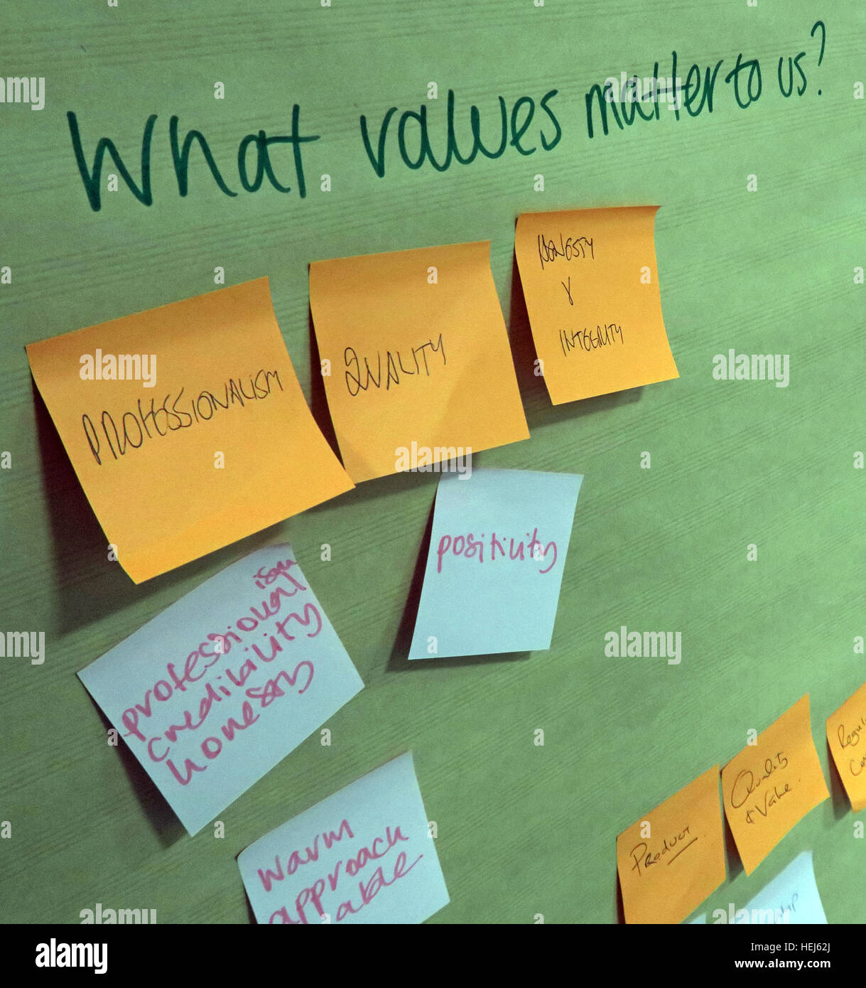 Strategy and Values brainstorming office training team building session - What values matter to us? - Stock Image