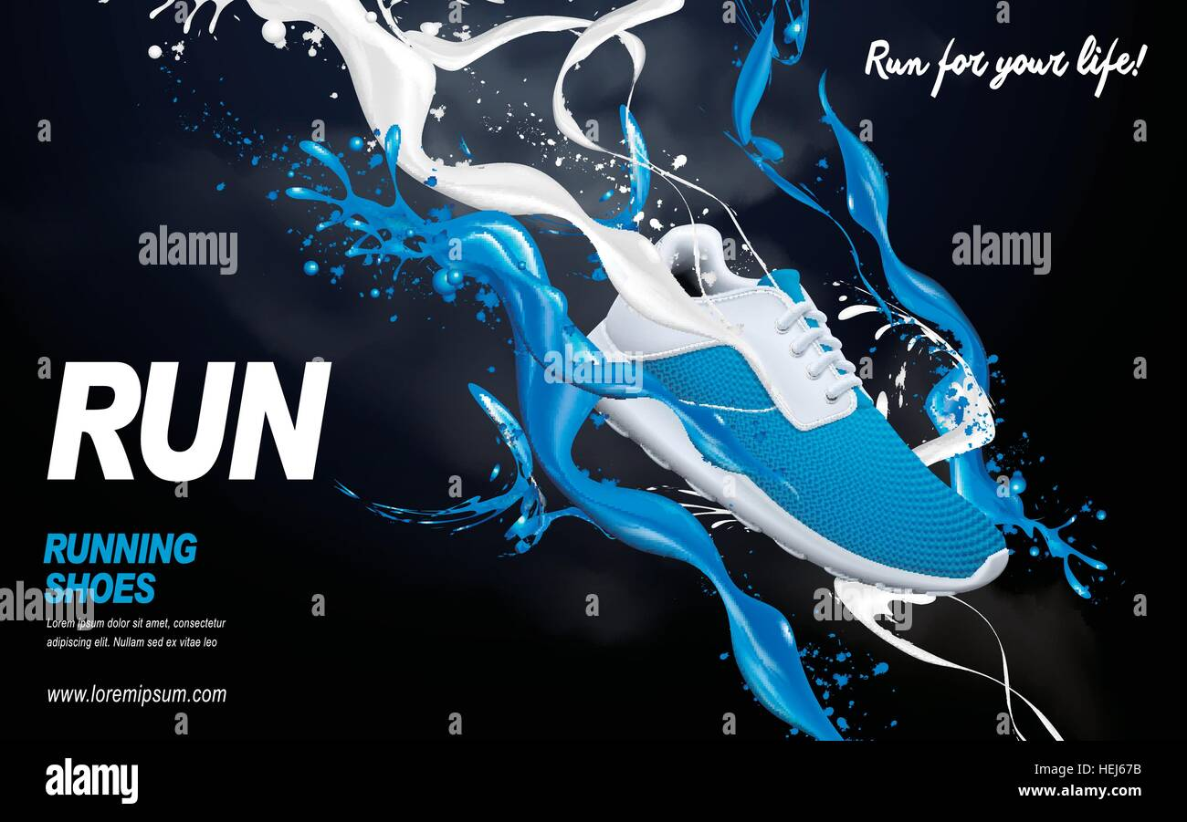 blue running shoes with special effects, 3d illustration Stock