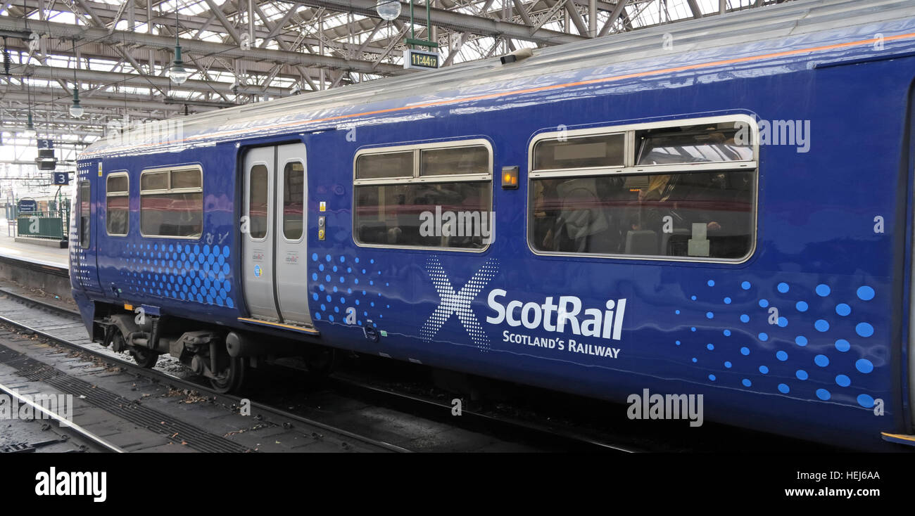 Scotrail Abellio train carriage,petition to bring back into state ownership,after poor service - Stock Image