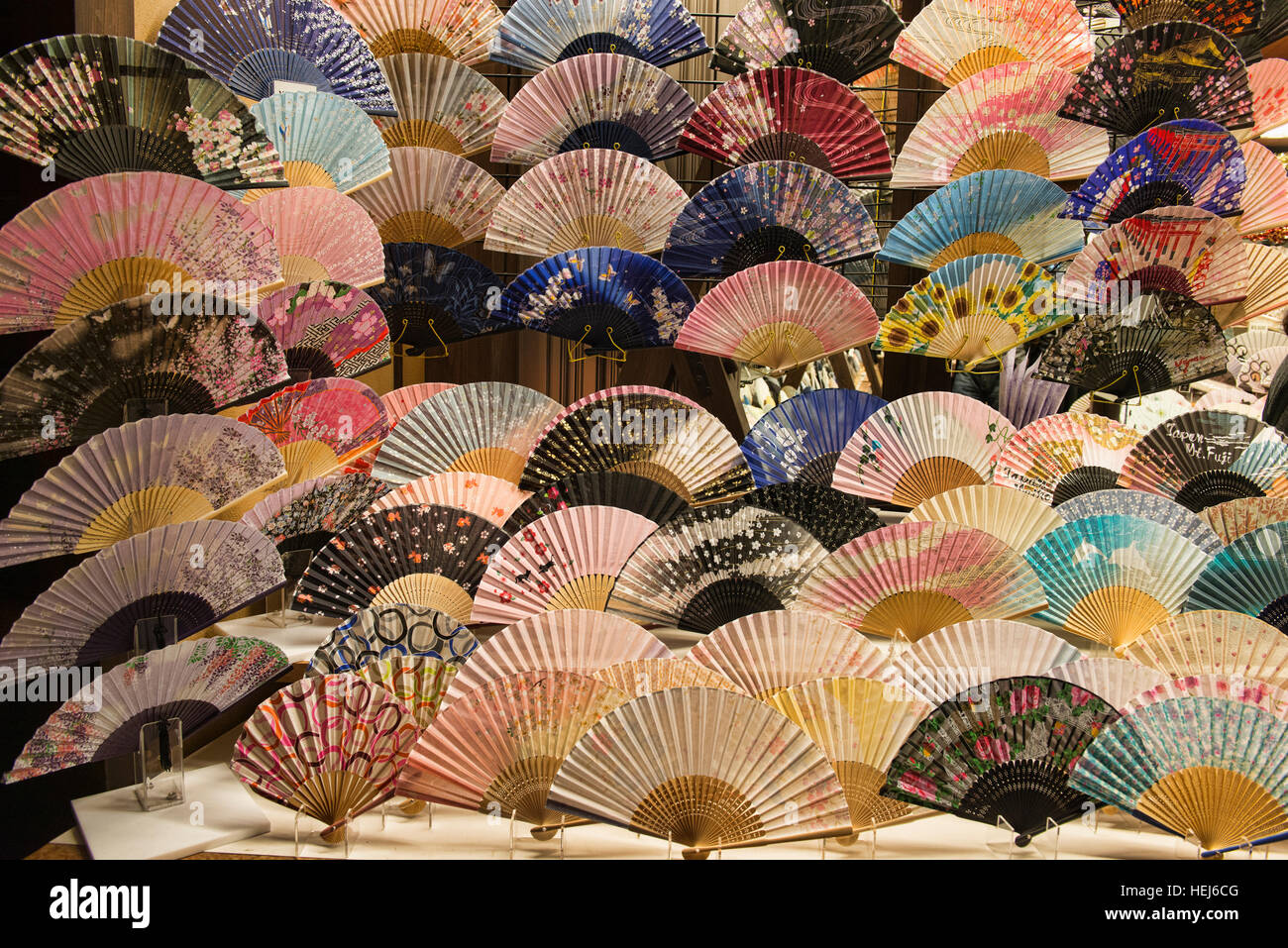 Japanese fans, Kyoto, Japan - Stock Image