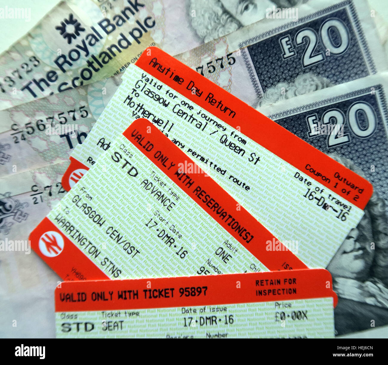 Scotrail passenger tickets and £20 notes,Anytime day return - Stock Image