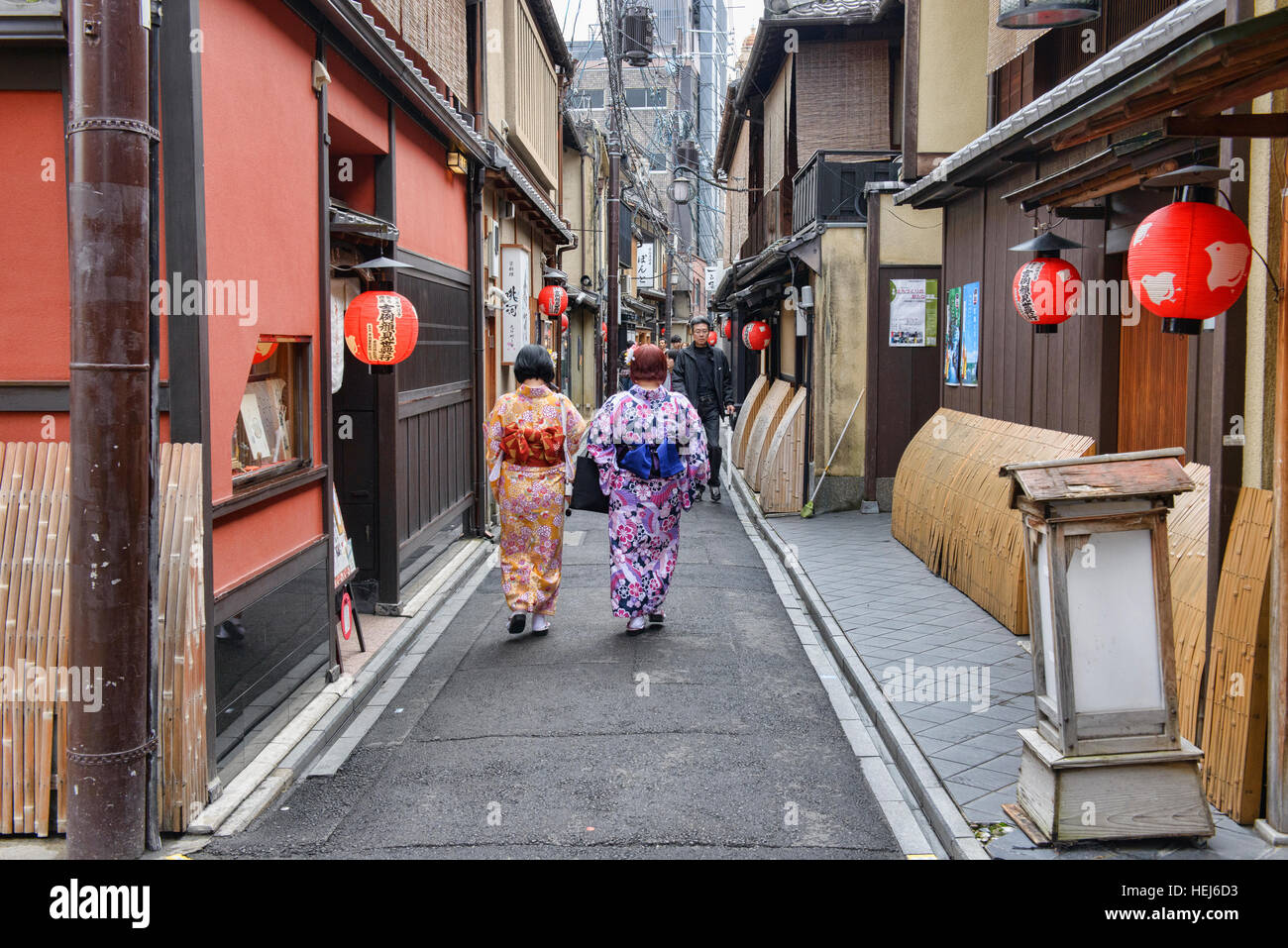 The atmospheric alleyways of Gion, Kyoto, Japan - Stock Image