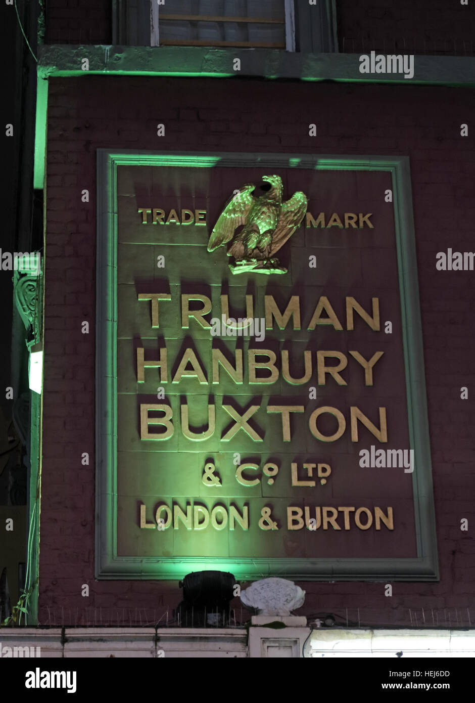 Camden Town at Night, North London, England, UK - Truman Hanbury Buxton Sign Burton Ales - Stock Image
