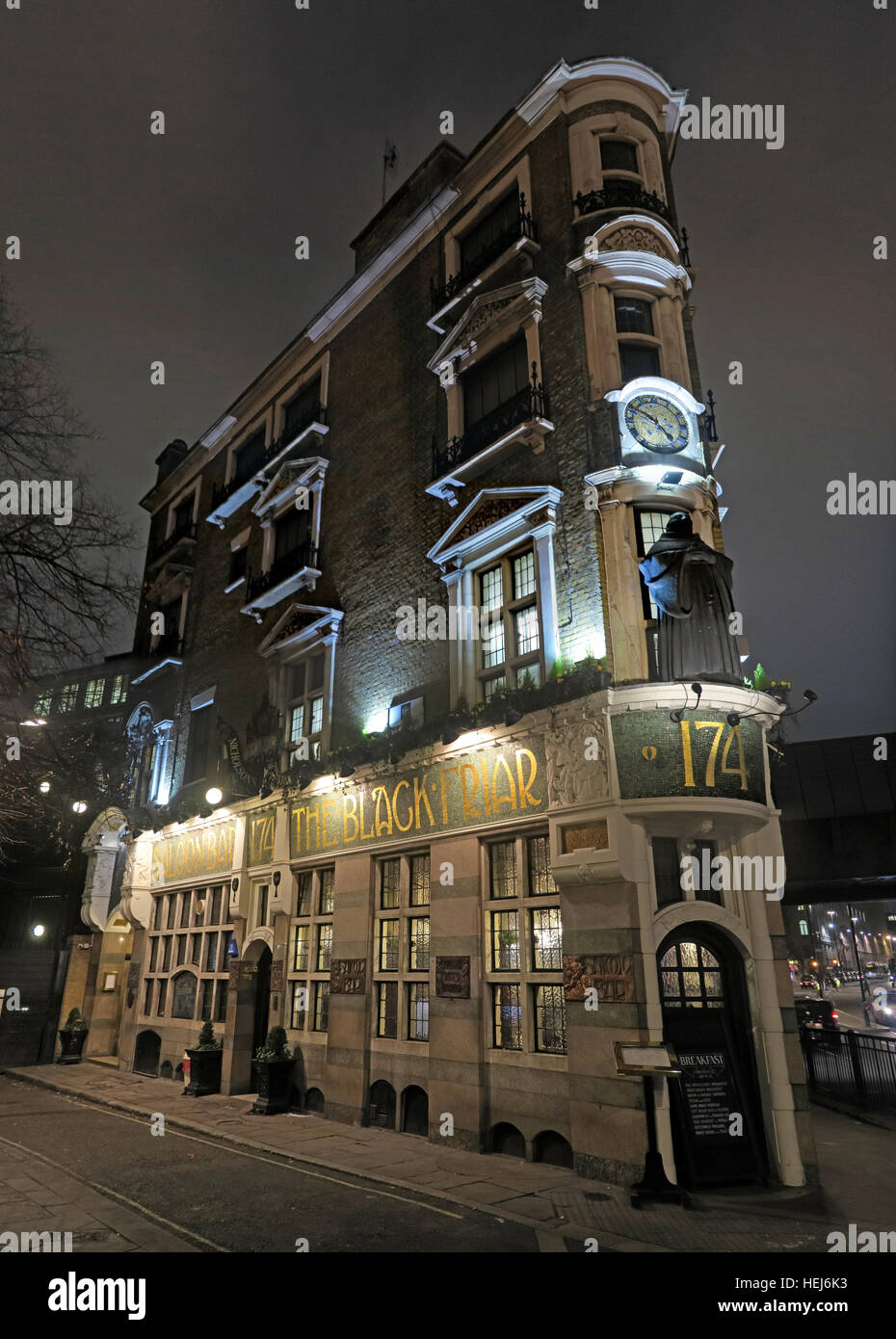 The Black Friar, Blackfriars, London, England, UK at night,pano - Stock Image