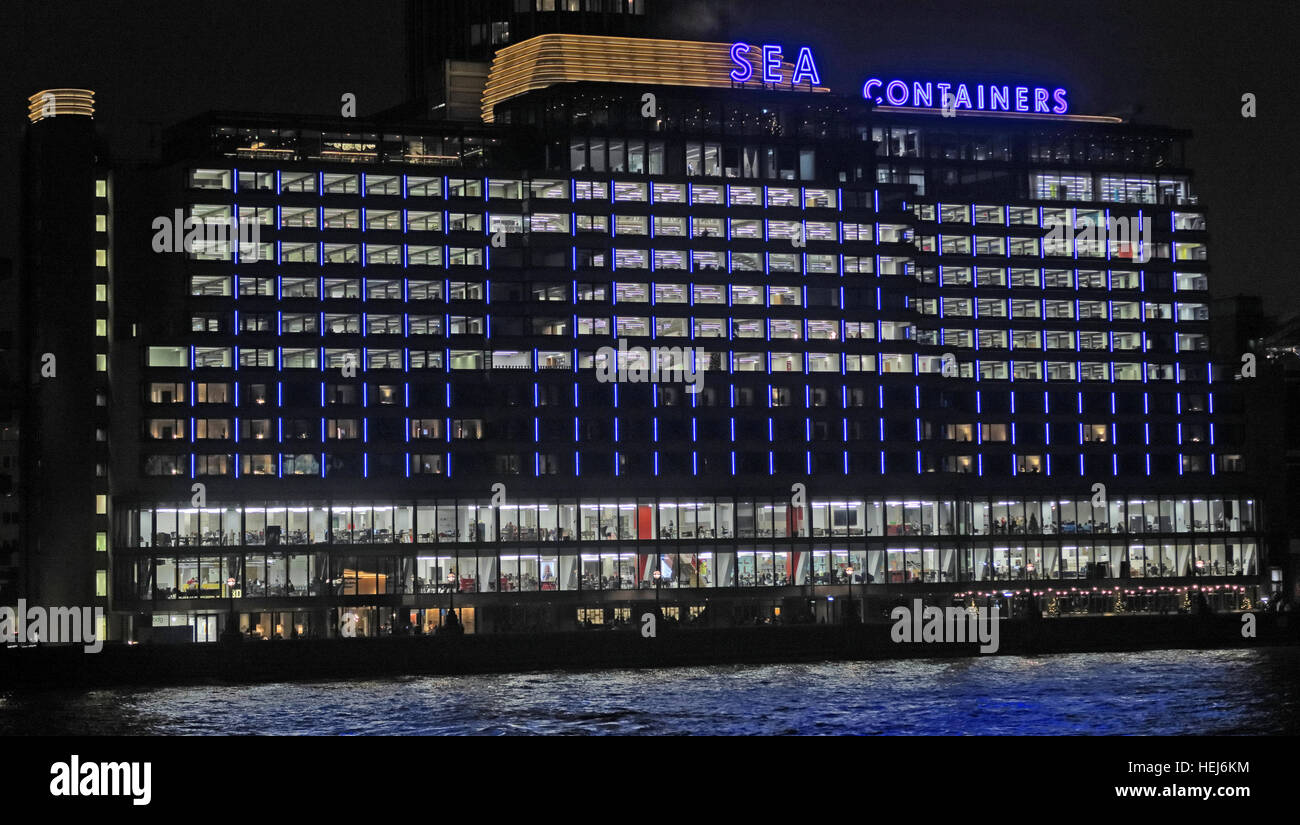 Sea Containers House, River Thames, London, England,UK at night Stock Photo