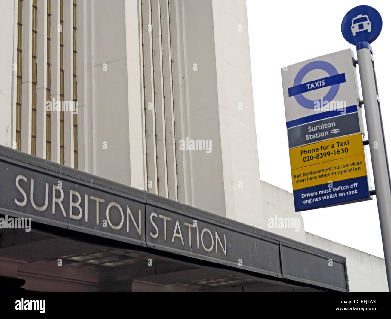 Surbiton Railway Station,SW Trains, West London, England,UK and bus transport links - Stock Image