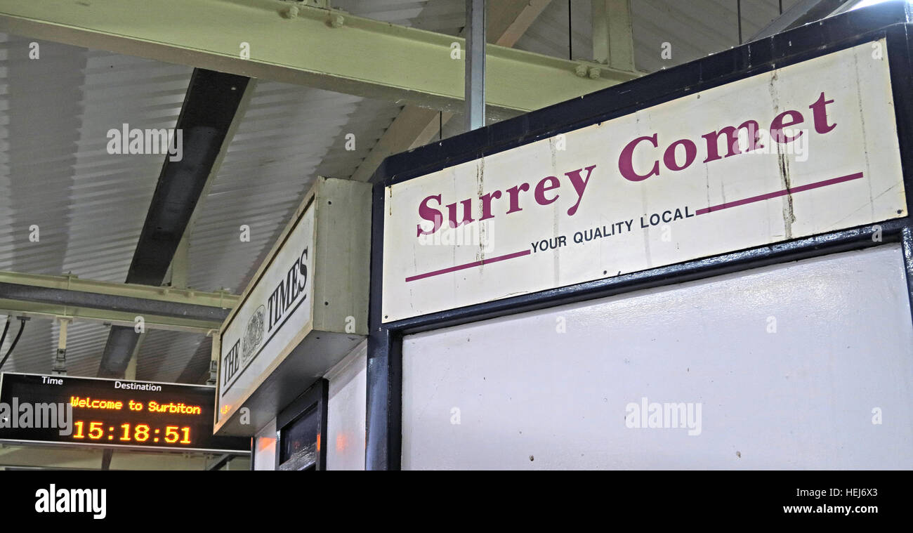 Welcome to Surbiton station, and the Surrey Comet, West London, England, UK Stock Photo