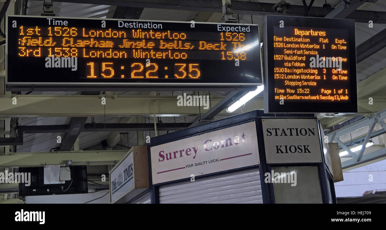 Christmas Festive Humour on South West Trains information displays, Central London,England,UK Stock Photo