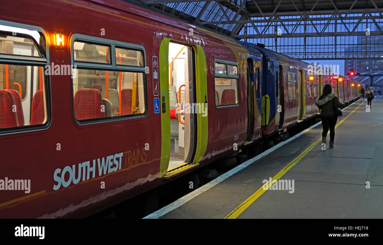 South West train, ready to depart at dusk, London, England,UK Stock Photo