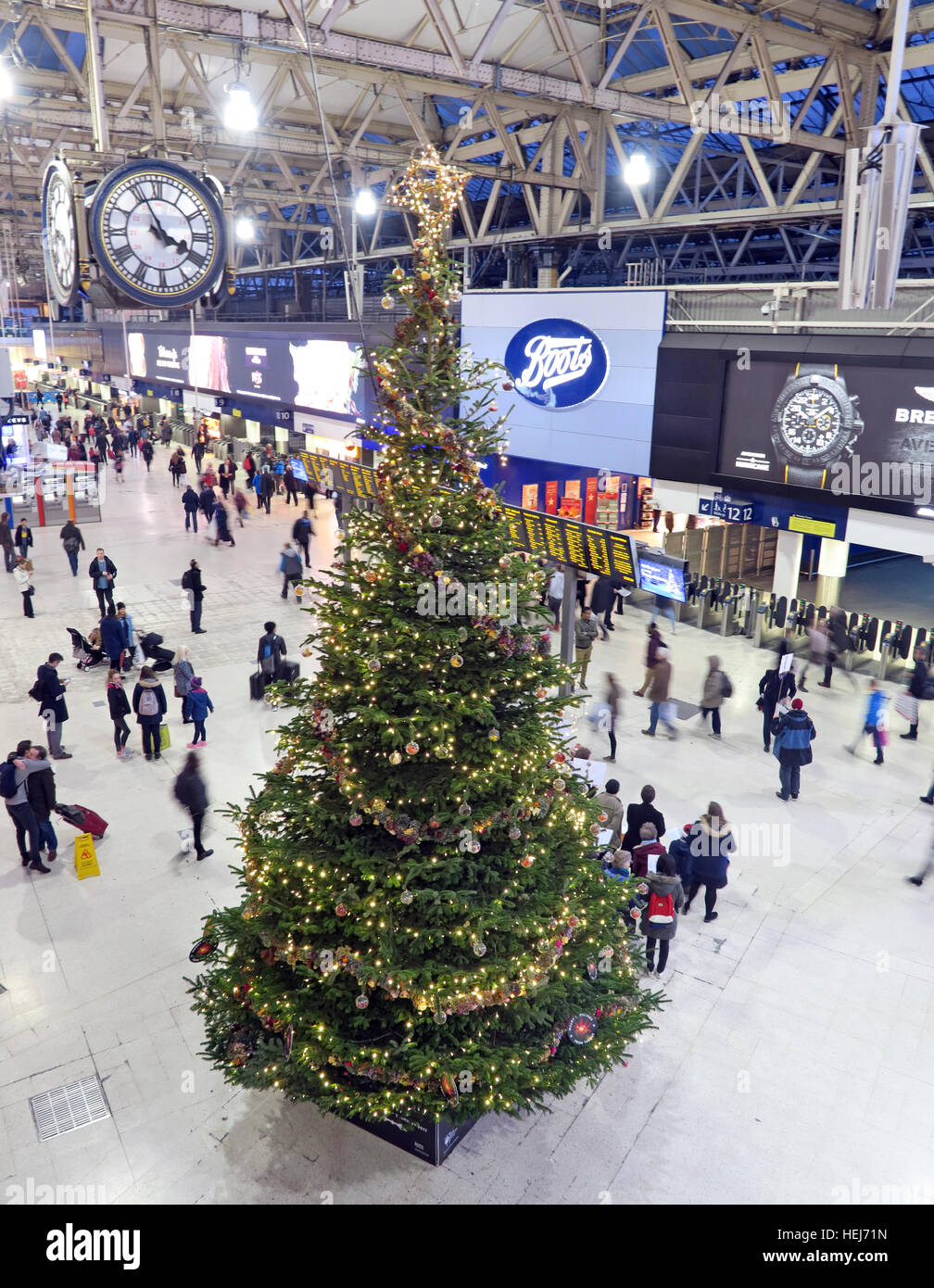Waterloo Station, London at Christmas,December, Central London,England UK - Stock Image