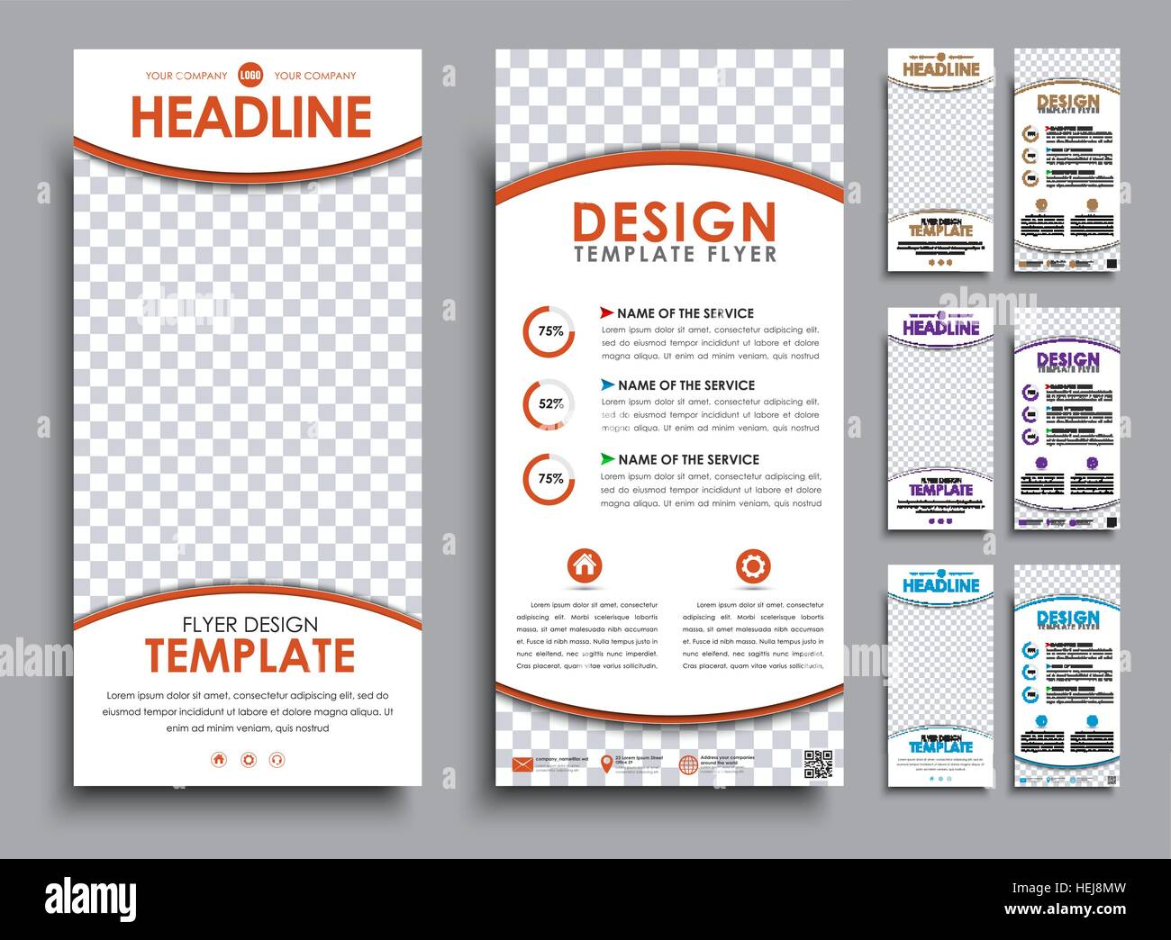 design of flyers size of 210x99 mm templates 2 pages with space for