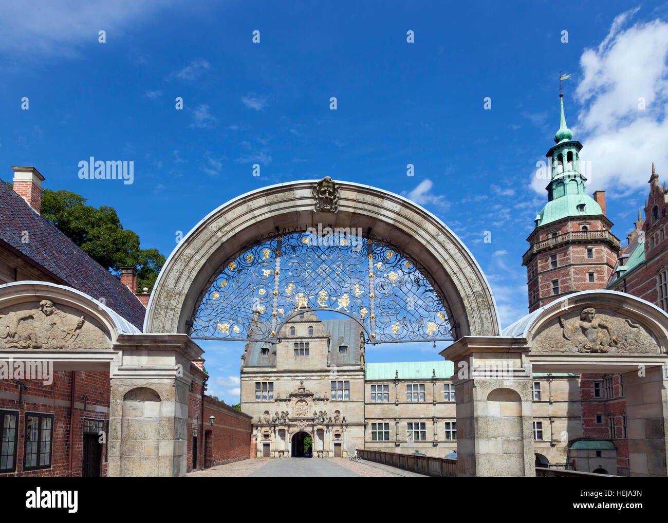 Møntporten, The Mint Gate at Frederiksborg Castle in Hillerød, Hilleroed close to Copenhagen, Denmark - Stock Image