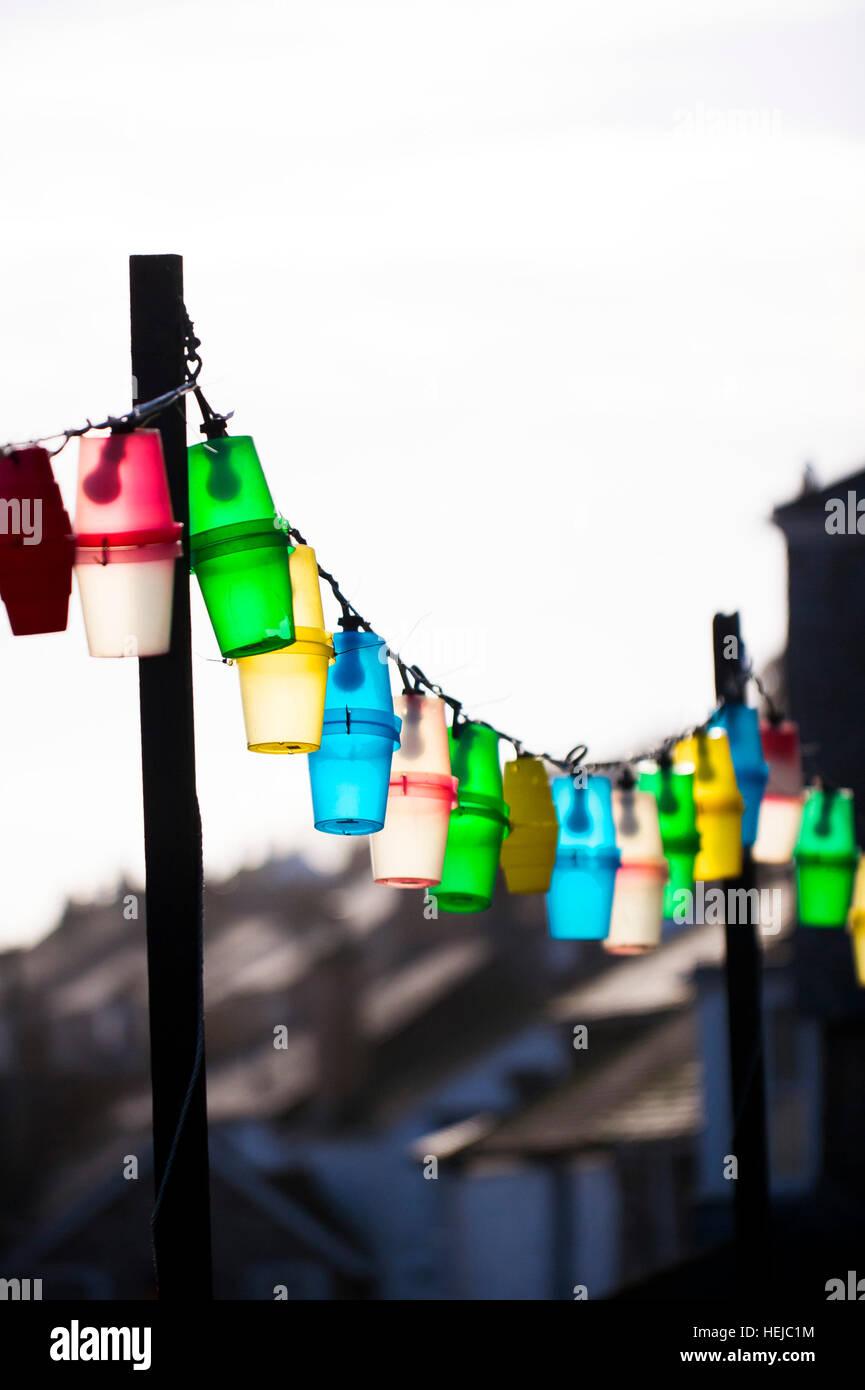 Colourful festoon lights. Stock Photo