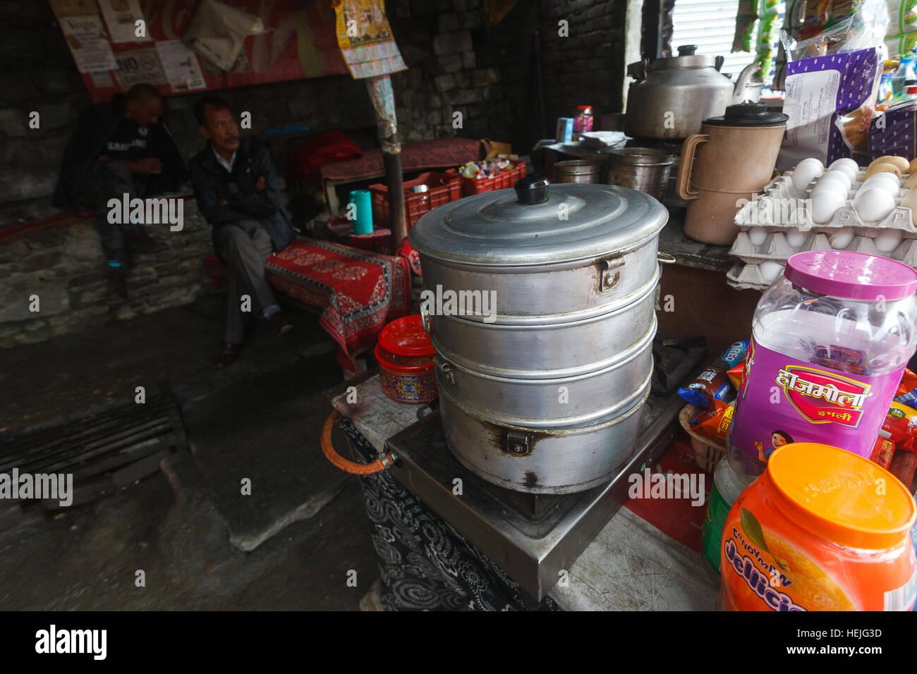 Siddu steamer in a street cafe in Naggar village, Himachal Pradesh, India - Stock Image